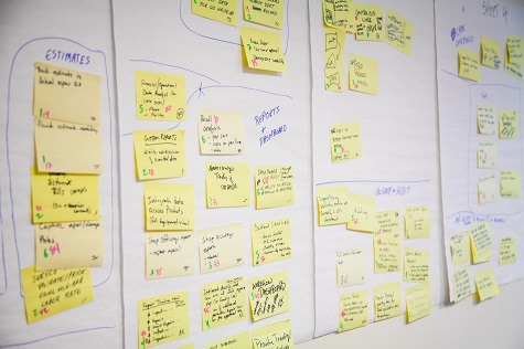 Sticky notes on a task board at Railinc, which practices the Agile software development method.