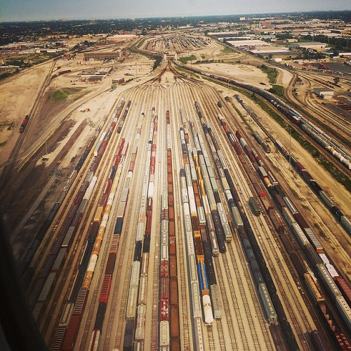 An aerial photograph of a railroad switching yard in Chicago.