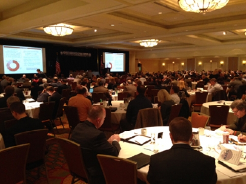 A ballroom full of attendees of the January 2015 meeting of the Midwest Association of Rail Shippers (MARS).