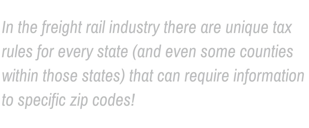 """A pull quote that reads: """"In the freight rail industry there are unique rules for every state (and even some counties within those states) that can require information to specific zip codes!"""